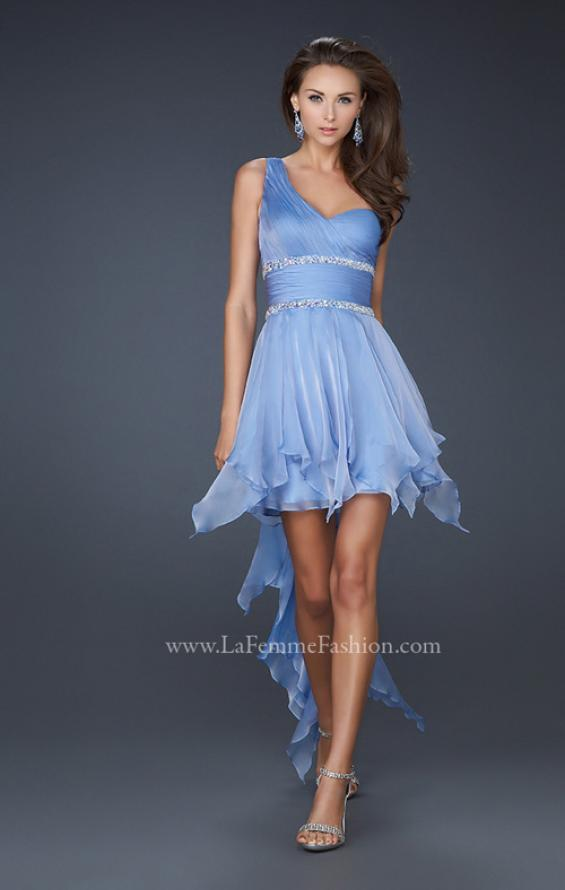 Picture of: High Low Hem Prom Gown with Embellished Waistband in Blue, Style: 17724, Detail Picture 1