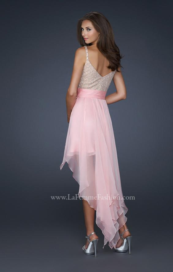 Picture of: V Neck Spaghetti Strap Gown with High Low Hem, Style: 17732, Back Picture