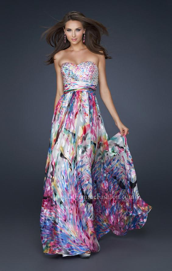 Picture of: Full Length Strapless Silk Burnout Prom Dress in Print, Style: 17735, Main Picture