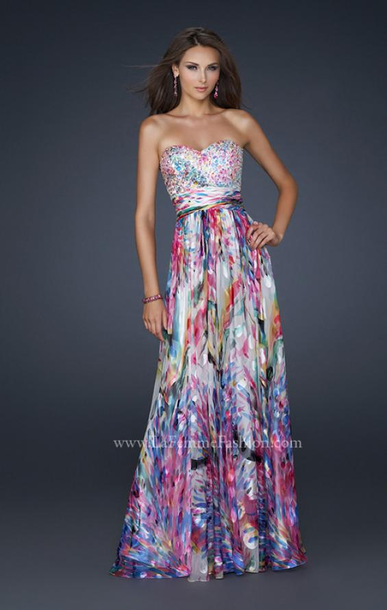 Picture of: Full Length Strapless Silk Burnout Prom Dress in Print, Style: 17735, Detail Picture 1