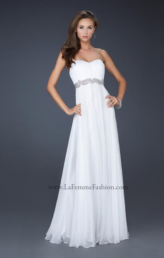 Picture of: Empire Waist Chiffon Prom Gown with Embellished Belt in White, Style: 17739, Main Picture