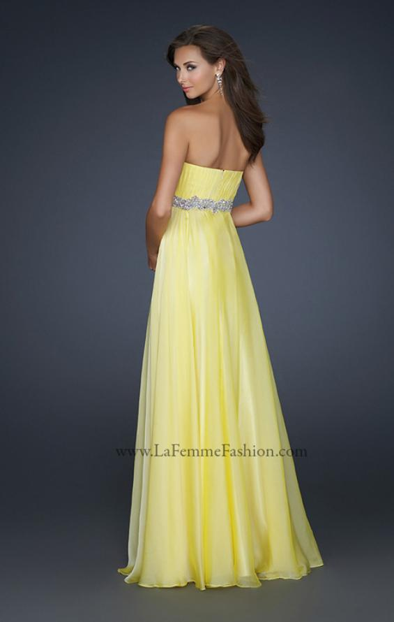 Picture of: Empire Waist Chiffon Prom Gown with Embellished Belt in Yellow, Style: 17739, Back Picture