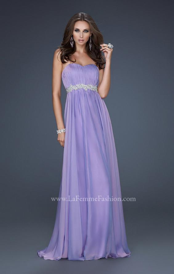 Picture of: Empire Waist Chiffon Prom Gown with Embellished Belt in Purple, Style: 17739, Detail Picture 1