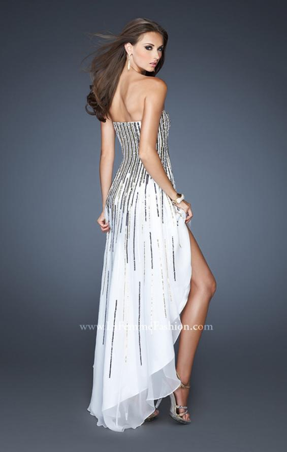 Picture of: Strapless Dress with High Low Skirt and Colored Sequins, Style: 17751, Back Picture