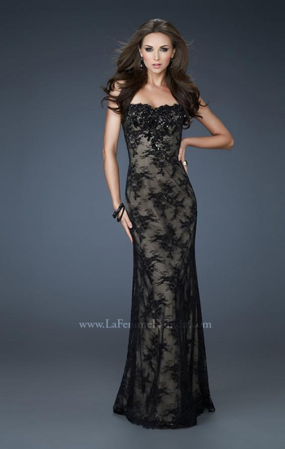 Picture of: Strapless Lace Gown with Scalloped Edges and Floral Detail in Black, Style: 17752, Main Picture