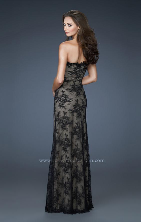 Picture of: Strapless Lace Gown with Scalloped Edges and Floral Detail in Black, Style: 17752, Back Picture