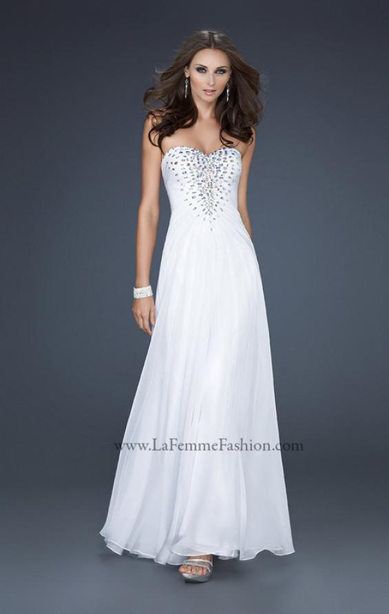 Picture of: Long Chiffon prom Dress with Beading and Pleated Detail in White, Style: 17767, Main Picture