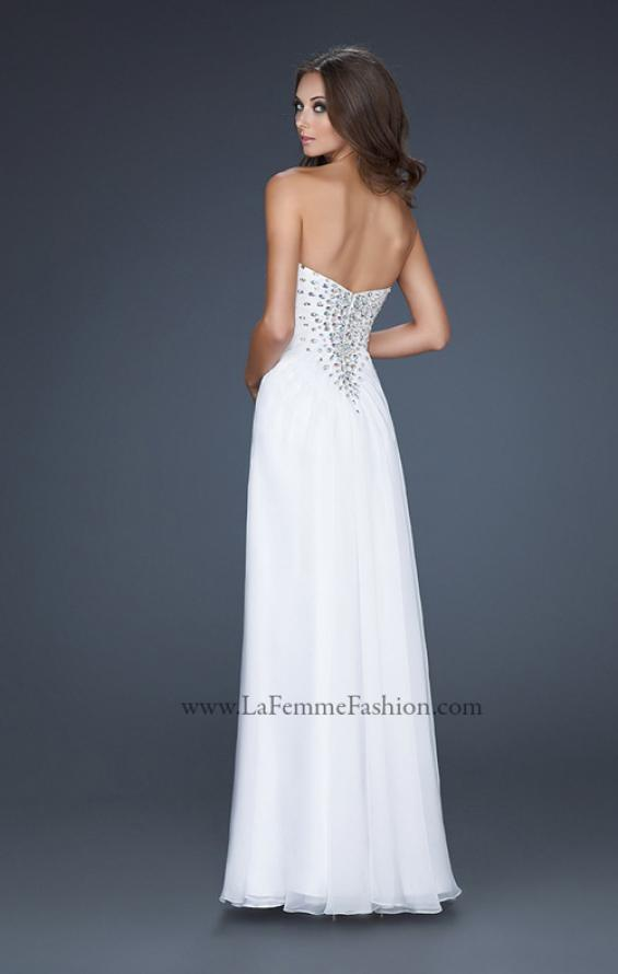 Picture of: Long Chiffon prom Dress with Beading and Pleated Detail in White, Style: 17767, Back Picture
