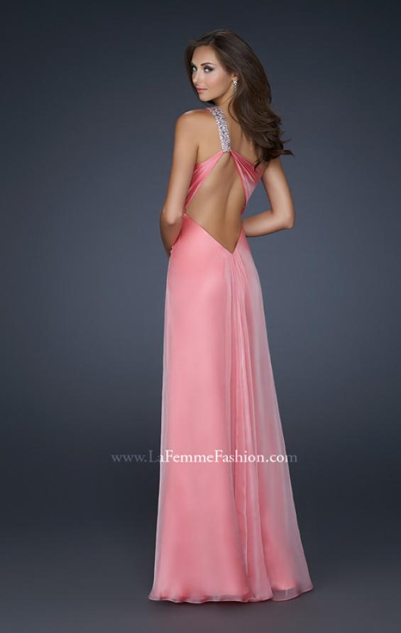 Picture of: Long Chiffon Gown with Embellished One Shoulder Strap in Pink, Style: 17803, Back Picture