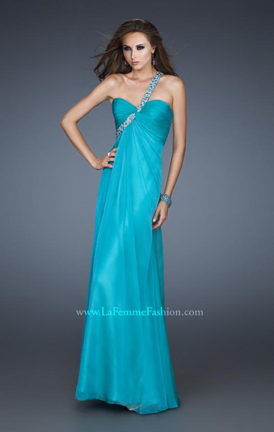 Picture of: Long Chiffon Gown with Embellished One Shoulder Strap in Blue, Style: 17803, Detail Picture 1