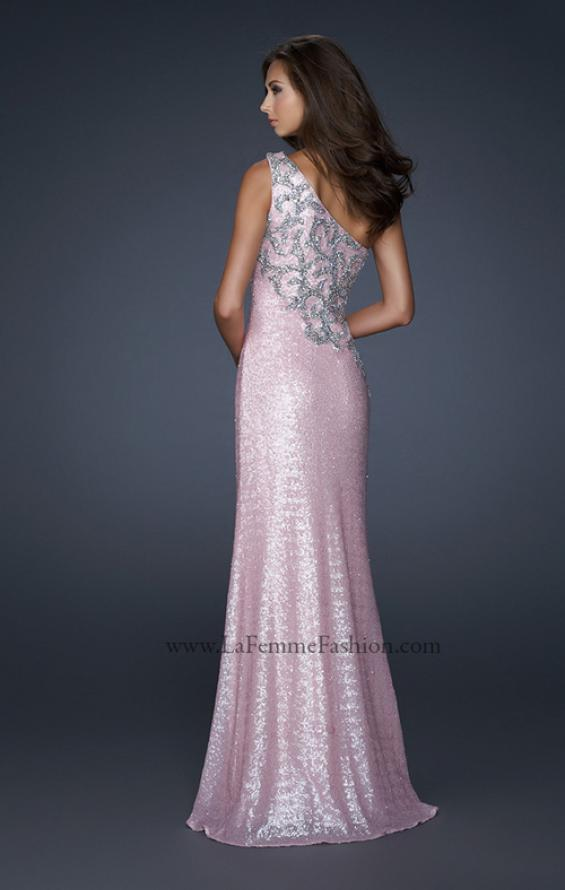 Picture of: One Shoulder Sequined Gown with Embellishments, Style: 17804, Back Picture