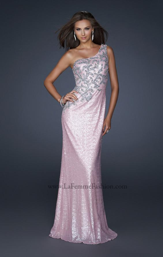 Picture of: One Shoulder Sequined Gown with Embellishments, Style: 17804, Detail Picture 1
