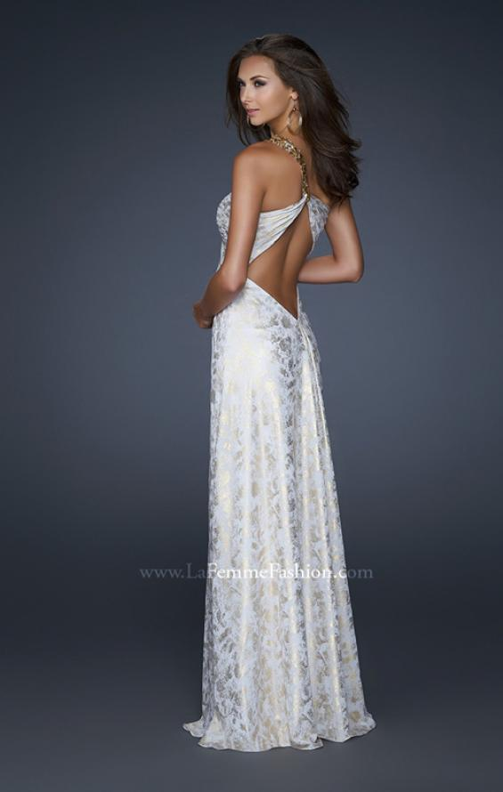 Picture of: One Shoulder Beaded Flower Strap Prom Dress in White, Style: 17805, Back Picture