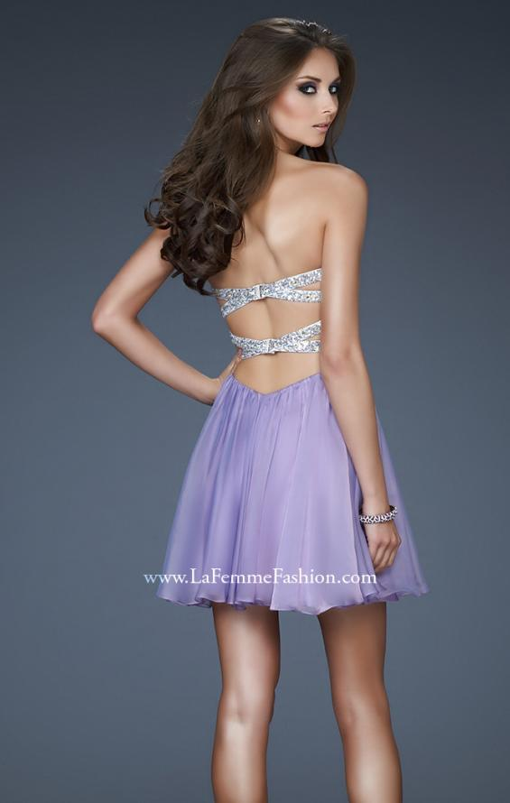 Picture of: Strapless Mini Dress with Criss Cross Open Back, Style: 17902, Back Picture