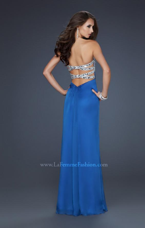Picture of: Flowing Chiffon Prom Dress with Hand Beaded Top, Style: 17909, Back Picture