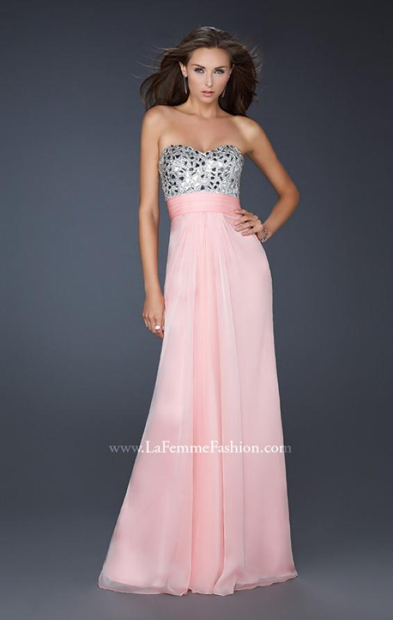 Picture of: Flowing Chiffon Prom Dress with Hand Beaded Top, Style: 17909, Detail Picture 1