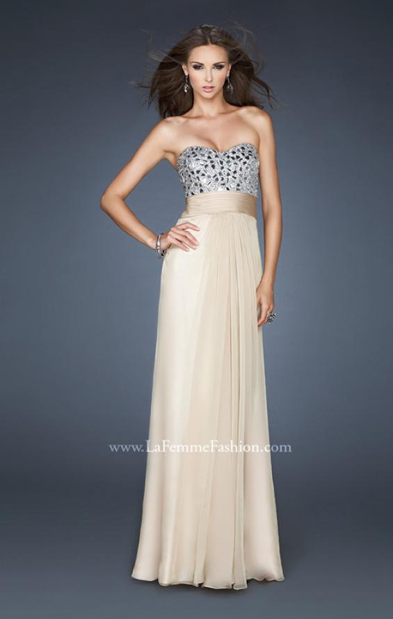 Picture of: Flowing Chiffon Prom Dress with Hand Beaded Top, Style: 17909, Detail Picture 2