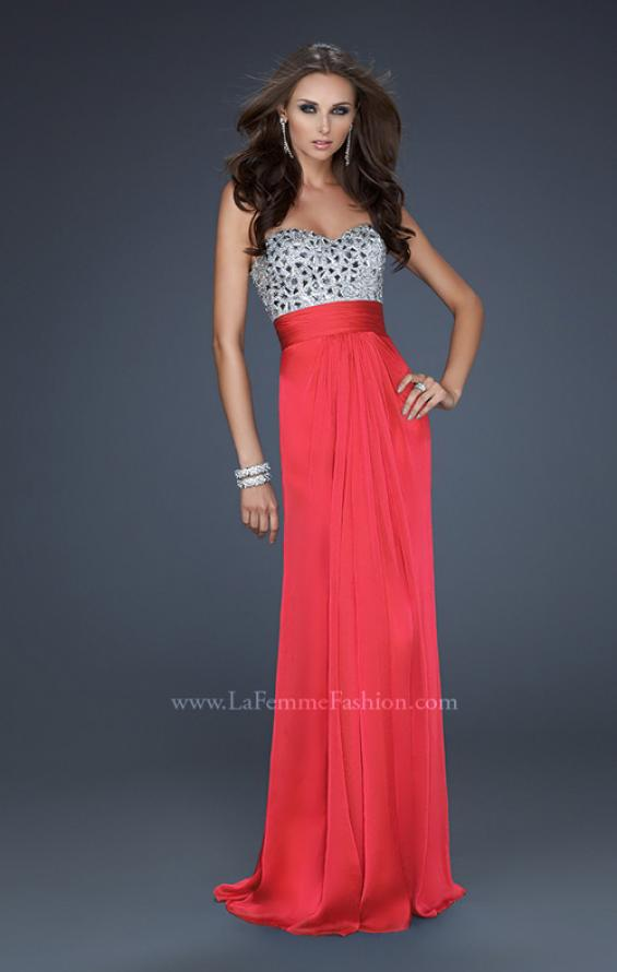 Picture of: Flowing Chiffon Prom Dress with Hand Beaded Top, Style: 17909, Detail Picture 3