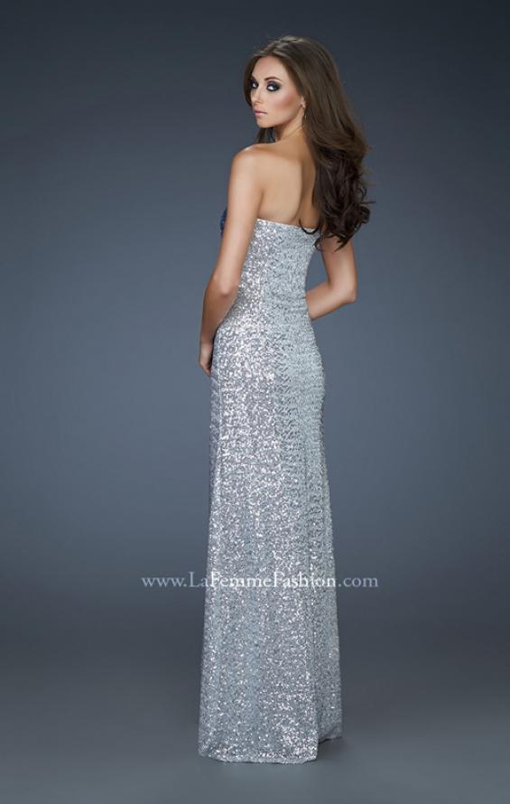 Picture of: Fitted Strapless Sequin Gown with Ombre Front Design in Silver, Style: 17915, Back Picture