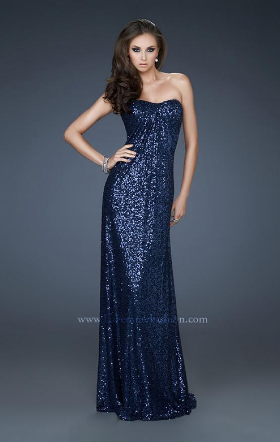 Picture of: Strapless Sequin Dress with Center Front Ruching in Blue, Style: 17924, Main Picture