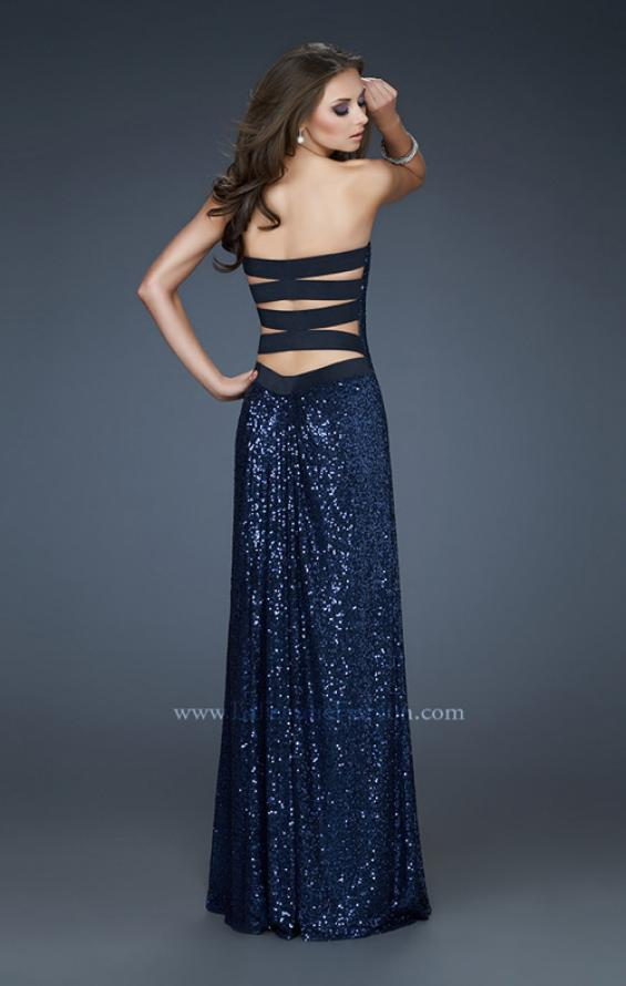 Picture of: Strapless Sequin Dress with Center Front Ruching in Blue, Style: 17924, Back Picture