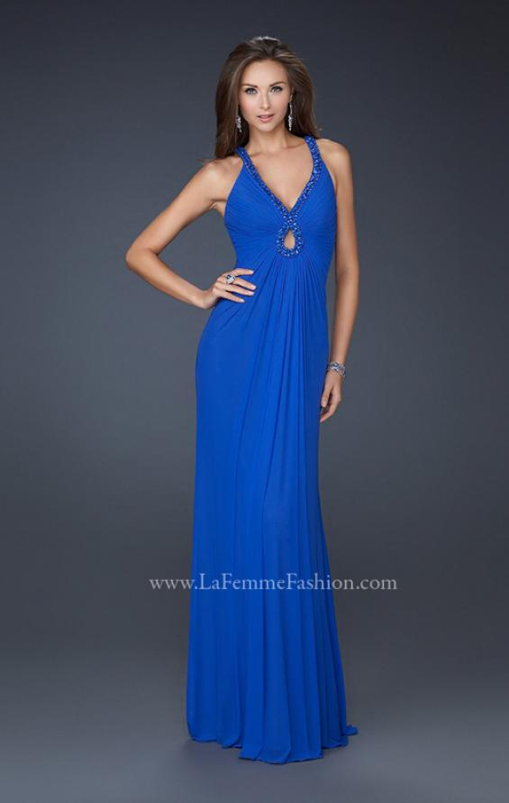 Picture of: Long Prom Gown with Keyhole Accent and Intricate Bust in Blue, Style: 17956, Main Picture