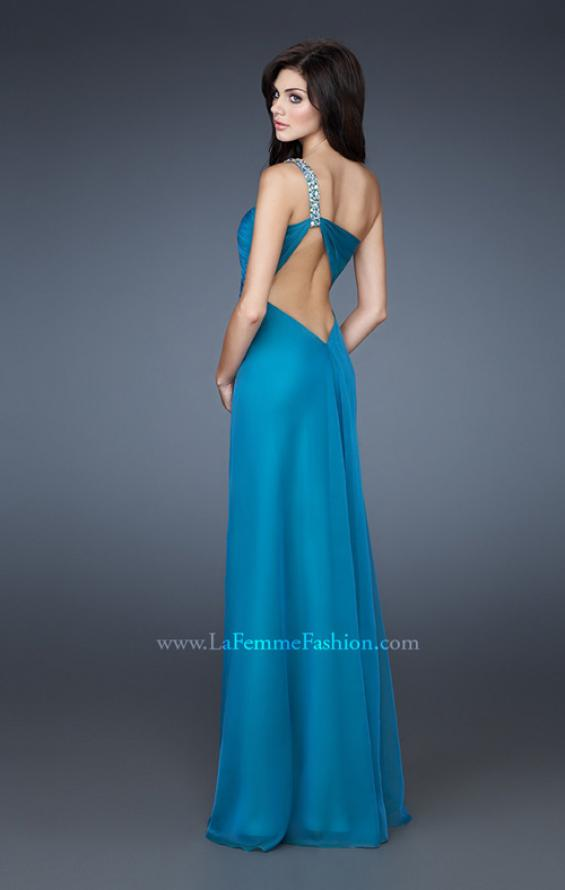 Picture of: Chiffon A-line Dress with Beaded One Shoulder Strap, Style: 17966, Back Picture