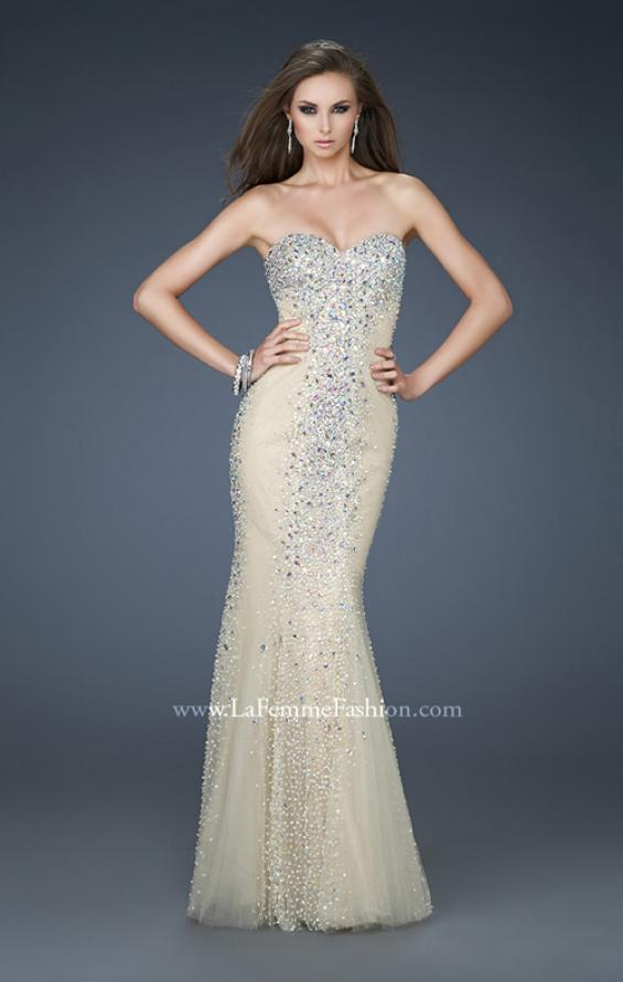Picture of: Tulle Prom Gown with Beads and Trumpet Silhouette in Nude, Style: 18021, Main Picture