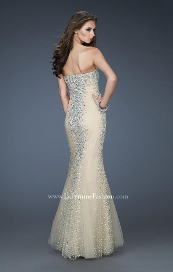 Picture of: Tulle Prom Gown with Beads and Trumpet Silhouette in Nude, Style: 18021, Back Picture