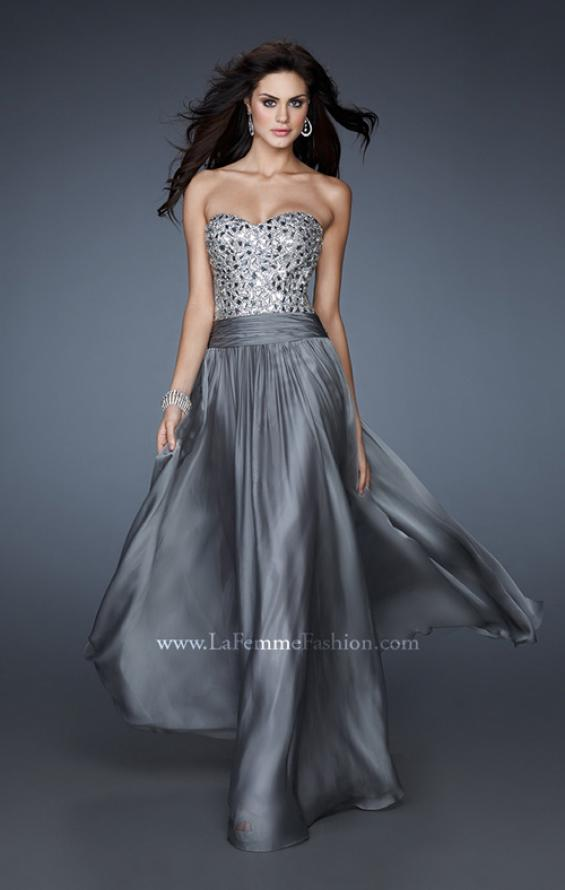 Picture of: Sequined Bodice Prom Dress with Criss Cross Back Straps in Silver, Style: 18026, Main Picture