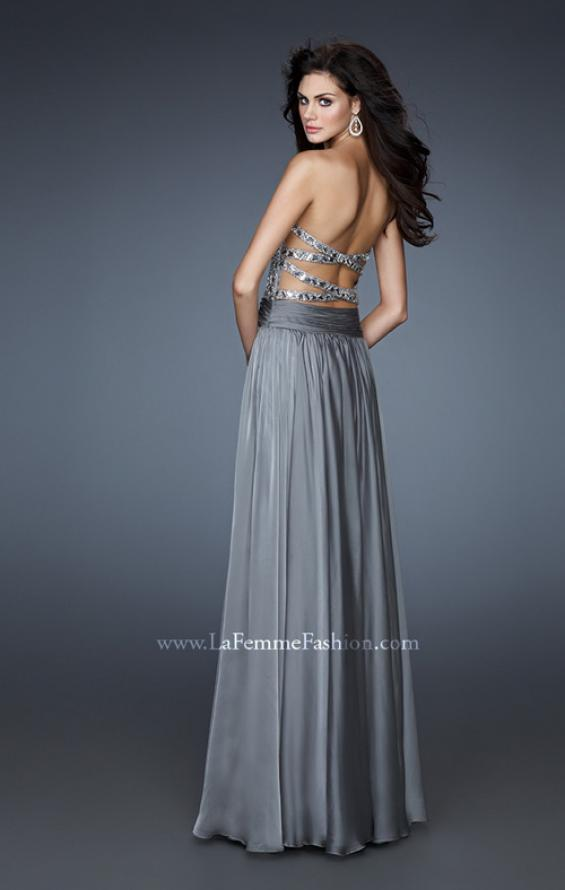 Picture of: Sequined Bodice Prom Dress with Criss Cross Back Straps in Silver, Style: 18026, Back Picture