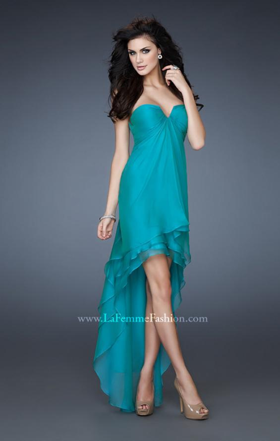 Picture of: Strapless Chiffon Gown with High Low Hem and Layers in Green, Style: 18048, Main Picture