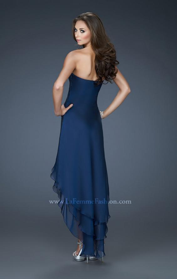 Picture of: Strapless Chiffon Gown with High Low Hem and Layers in Blue, Style: 18048, Back Picture