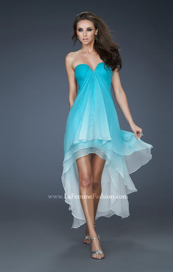Picture of: Strapless Ombre Prom Dress with High Low Hemline, Style: 18049, Main Picture