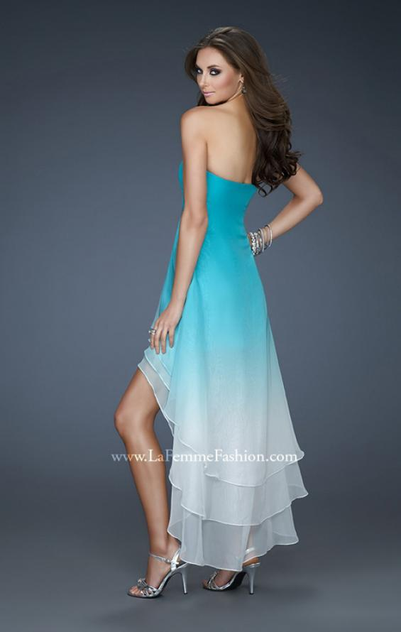 Picture of: Strapless Ombre Prom Dress with High Low Hemline, Style: 18049, Back Picture