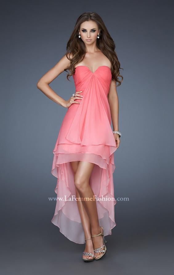 Picture of: Strapless Ombre Prom Dress with High Low Hemline, Style: 18049, Detail Picture 1