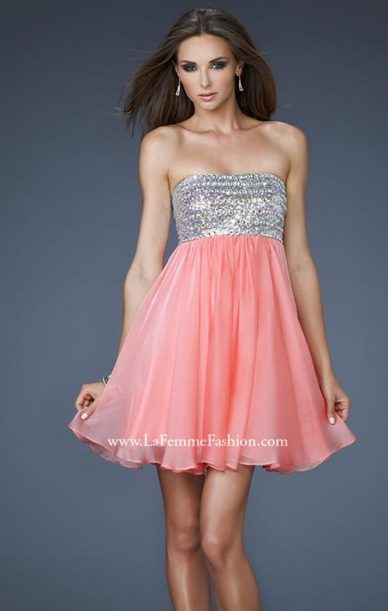 Picture of: Short Chiffon Cocktail Dress with Sequined and Beaded Bust in Orange, Style: 18063, Main Picture