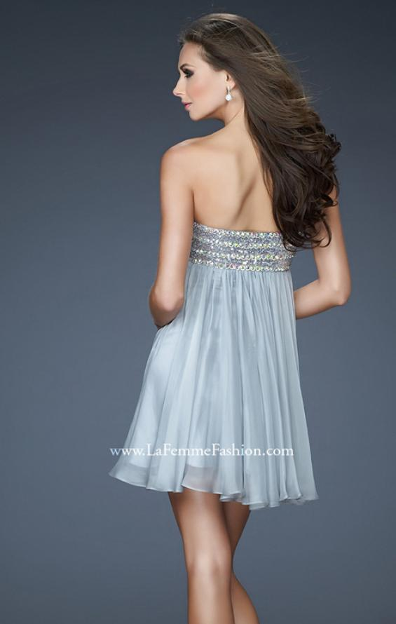 Picture of: Short Chiffon Cocktail Dress with Sequined and Beaded Bust in Silver, Style: 18063, Back Picture