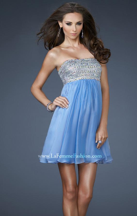 Picture of: Short Chiffon Cocktail Dress with Sequined and Beaded Bust in Blue, Style: 18063, Detail Picture 1