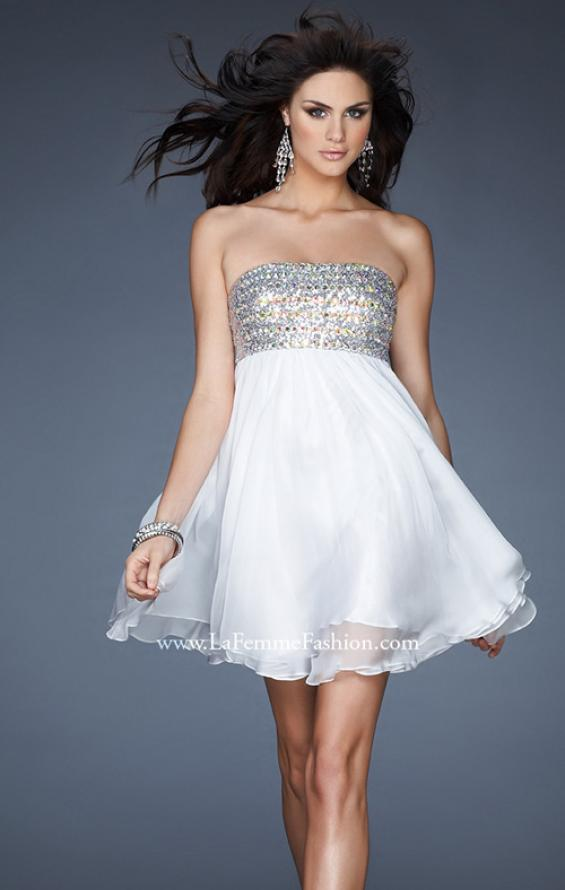 Picture of: Short Chiffon Cocktail Dress with Sequined and Beaded Bust in White, Style: 18063, Detail Picture 2