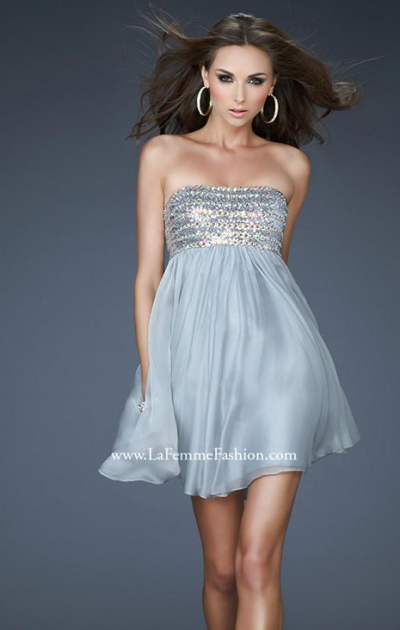 Picture of: Short Chiffon Cocktail Dress with Sequined and Beaded Bust in Silver, Style: 18063, Detail Picture 3