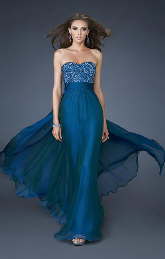 Picture of: A-line Chiffon Dress with Beaded One Shoulder Strap, Style: 18066, Main Picture