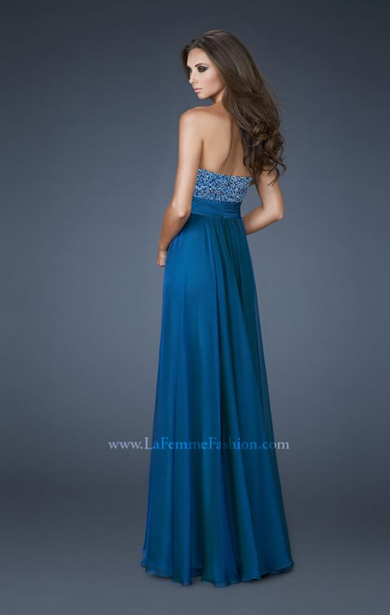 Picture of: A-line Chiffon Dress with Beaded One Shoulder Strap, Style: 18066, Back Picture