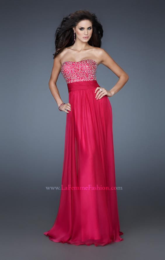 Picture of: A-line Chiffon Dress with Beaded One Shoulder Strap, Style: 18066, Detail Picture 1