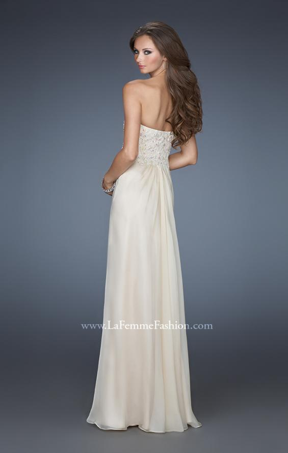 Picture of: Strapless Jeweled Prom Gown with Chiffon Overlay, Style: 18069, Back Picture