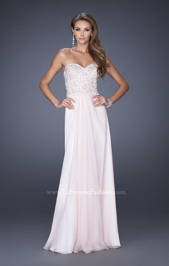 Picture of: Strapless Jeweled Prom Gown with Chiffon Overlay, Style: 18069, Detail Picture 1