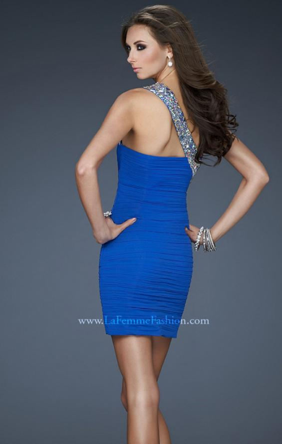 Picture of: One Shoulder Cocktail Dress with Rhinestone Accents in Blue, Style: 18076, Back Picture