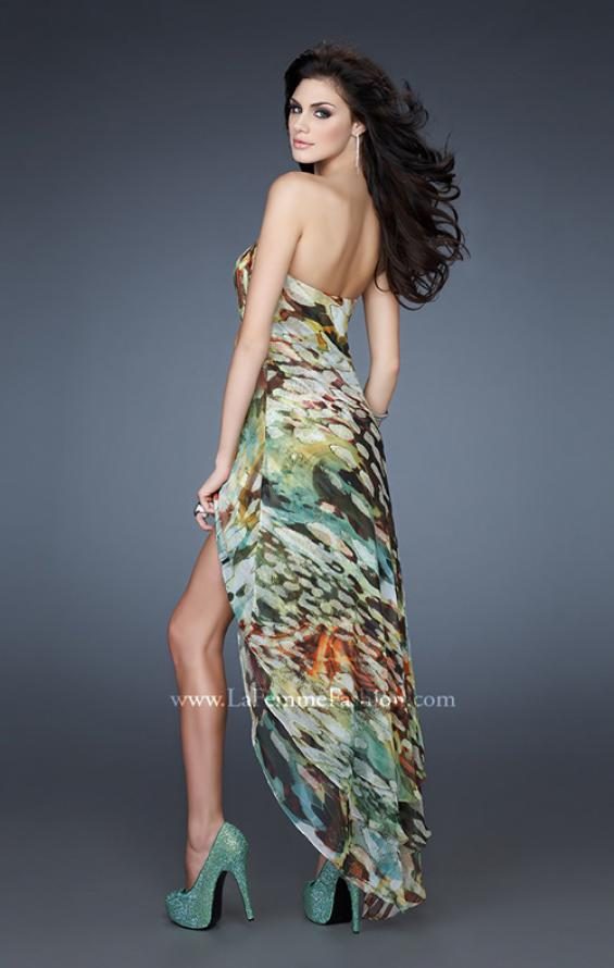 Picture of: Strapless Print Dress with High Low Hem and Pleating in Print, Style: 18078, Back Picture
