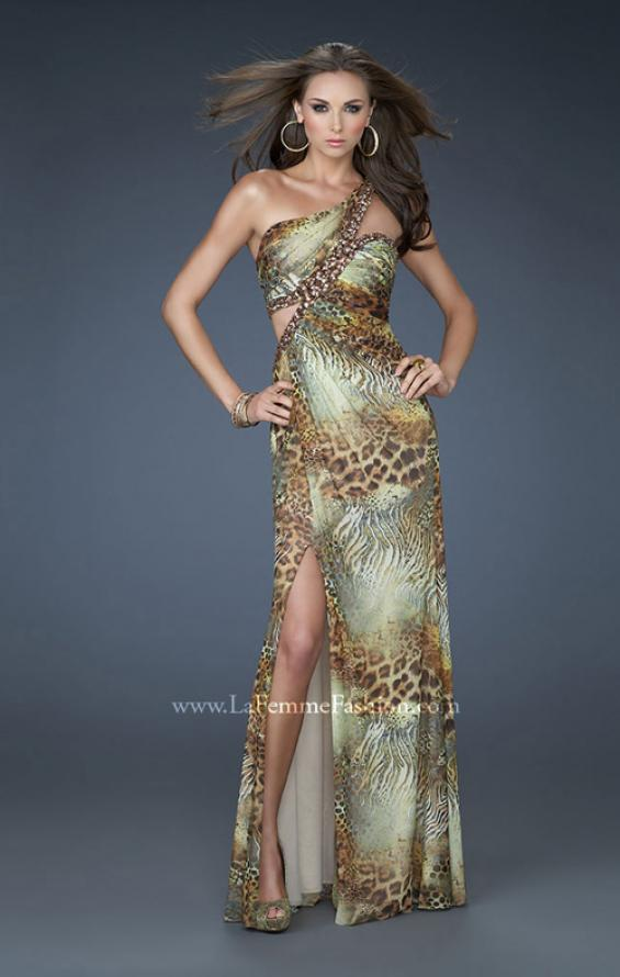 Picture of: Sexy One Shoulder Animal Print Net Dress with Beading in Print, Style: 18090, Main Picture