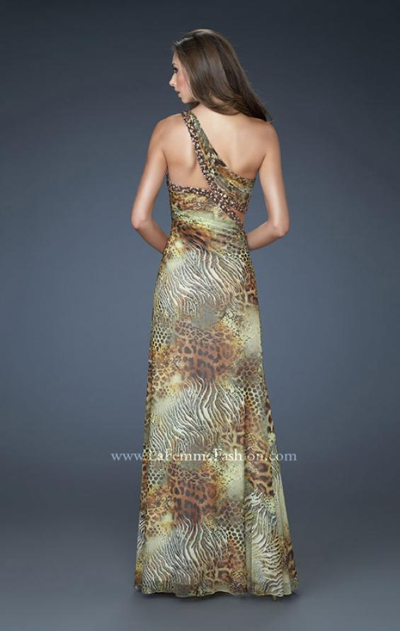 Picture of: Sexy One Shoulder Animal Print Net Dress with Beading in Print, Style: 18090, Back Picture